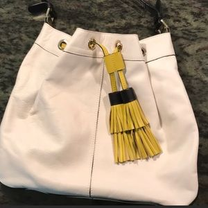 Boden satchel purse with chartreuse tassels